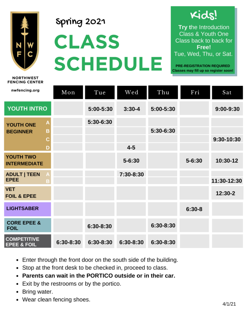 fencing class schedule beaverton
